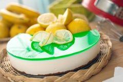 烘烤乳酪蛋糕柠檬没有ricotta 库存照片