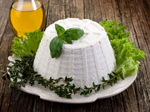 Ricotta avec de la laitue de basilic Photo stock