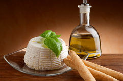 Ricotta and breadstick Royalty Free Stock Images