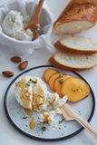 Ricotta cheese appetiser with honey and fruit Royalty Free Stock Photo