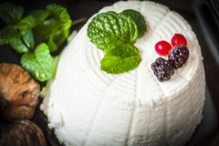 Ricotta cheese with berries, dried figs and some leaves of green fresh mint. Ricotta cheese with berries and dried figs and some leaves of green fresh mint Royalty Free Stock Image