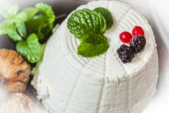 Ricotta cheese with berries, dried figs and some leaves of green fresh mint Stock Images