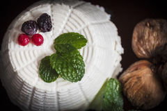 Ricotta cheese with berries, dried figs and some leaves of green fresh mint. Ricotta cheese with berries and dried figs and some leaves of green fresh mint Stock Photos