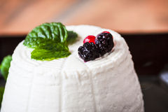 Ricotta cheese with berries and some leaves of green fresh mint. Ricotta cheese with berries figs and some leaves of green fresh mint Stock Photos