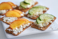 Ricotta cheese with peach and cucumber Stock Images