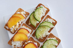 Ricotta cheese with peach and cucumber Royalty Free Stock Photos