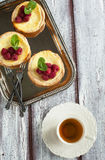Ricotta Cheese Tartlets with raspberries Royalty Free Stock Photography