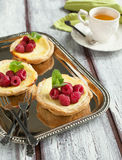 Ricotta Cheese Tartlets with raspberries Royalty Free Stock Image