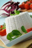 Ricotta cheese with valerian, closeup Stock Image
