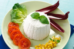 Ricotta cheese and vegetables Stock Images