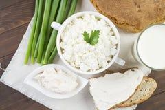 Ricotta con panna acida, latte, la cipolla ed il pane Fotografie Stock Libere da Diritti
