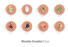Ricotta Crostini. Italiensk mat. Fotografering för Bildbyråer