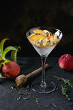 Ricotta dessert with peach Stock Photos
