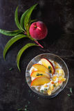 Ricotta dessert with peach Stock Images