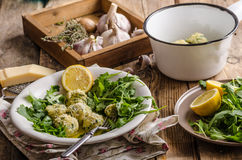 Ricotta dumplings with spinach Stock Image