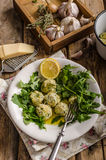 Ricotta dumplings with spinach Royalty Free Stock Photos