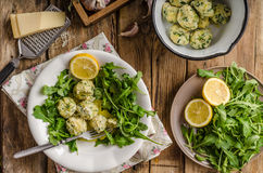 Ricotta dumplings with spinach Stock Photography
