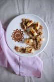 Ricotta gnocchi with buttered pears, walnuts and cinnamon Royalty Free Stock Images