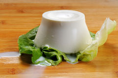 Ricotta Italian chesse on a leaf Royalty Free Stock Image