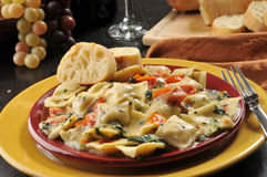 Ricotta and lobster ravioli Stock Photography