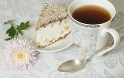 Ricotta and Pear Cake with cup of tea Stock Image
