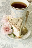 Ricotta and Pear Cake with cup of tea Royalty Free Stock Photo