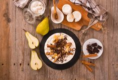 Ricotta and pear cheesecake. royalty free stock photos