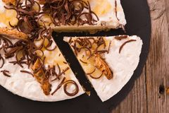 Ricotta and pear cheesecake. stock photography
