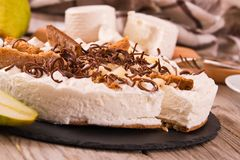 Ricotta and pear cheesecake. royalty free stock images