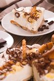Ricotta and pear cheesecake. royalty free stock photography