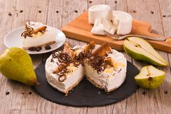 Ricotta and pear cheesecake. royalty free stock photo