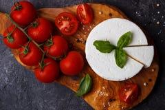Ricotta ser z basilem i pomidorami fotografia stock