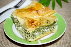 Ricotta and spinach homemade pie royalty free stock photos