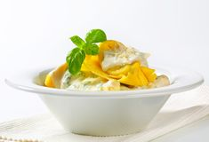 Ricotta and spinach tortelloni with cream sauce and Parmesan Royalty Free Stock Photo