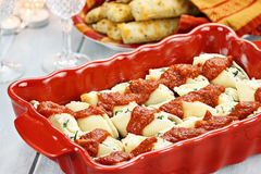 Ricotta Stuffed Cheese Shells and Bread Stock Images