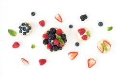 Ricotta tarts z świeżymi jagodami Obraz Royalty Free