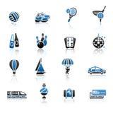 Ricreazione, vacanza & viaggio, icone messe Fotografia Stock