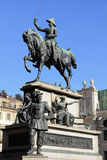 Rid- monument till Carlo Alberto Royaltyfria Foton
