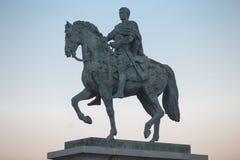 Rid- staty av Augustus Emperor, Merida, Spanien Arkivbild