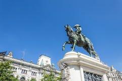 Rid- staty av droppstatyn för konung Pedro i OPorto Royaltyfria Foton