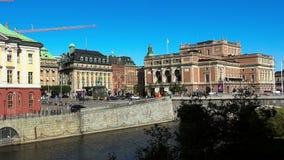 Rid- staty av konungen Gustav II Adolf mot den kungliga svenska operan stockholm sweden lager videofilmer