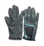 Rid- yrkesmässiga gråa handskar för att rida som isoleras på whi Royaltyfri Bild