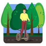 Rida för man som är segway i parkera Ljus vektoraffisch stock illustrationer