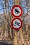 Rida förbjudit cykla Arkivfoto
