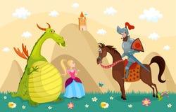Riddare och drake royaltyfri illustrationer