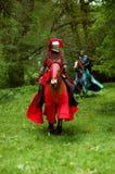 Riddare på en häst i Tyreso sweden Arkivbilder