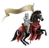 Riddare på häst med flaggan stock illustrationer