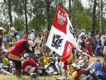 Riddare på rekonstruktionen av striden av Grunwald Fotografering för Bildbyråer