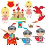Riddare-, prinsessa- och drakevektorillustration Royaltyfria Foton