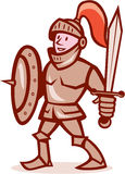 Riddare Shield Sword Cartoon Arkivbild